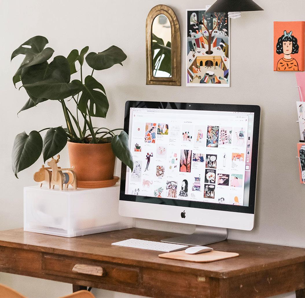 desktop on wooden table